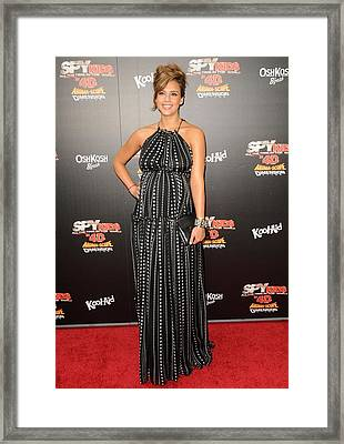 Jessica Alba Wearing A Dress By Dolce & Framed Print