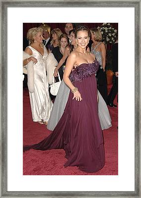 Jessica Alba Wearing A Marchesa Dress Framed Print