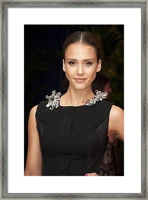 Jessica Alba Wearing A Marios Schwab Framed Print by Everett