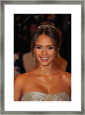 Jessica Alba Wearing A Ralph Lauren Framed Print by Everett