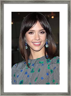 Jessica Alba Wearing Vintage Earrings Framed Print