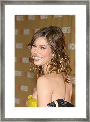 Jessica Biel At Arrivals For All-star Framed Print