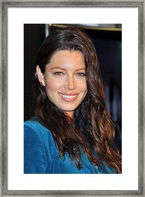 Jessica Biel At In-store Appearance Framed Print by Everett