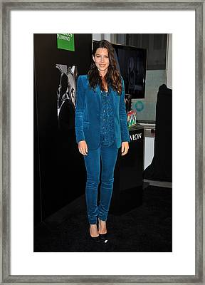 Jessica Biel Wearing A Gucci Suit Framed Print