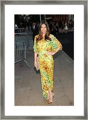 Jessica Biel Wearing Diane Von Framed Print by Everett