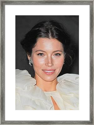 Jessica Biel  Wearing Fred Leighton Framed Print