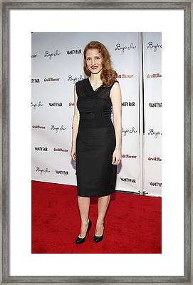 Jessica Chastain At Arrivals For Bright Framed Print by Everett
