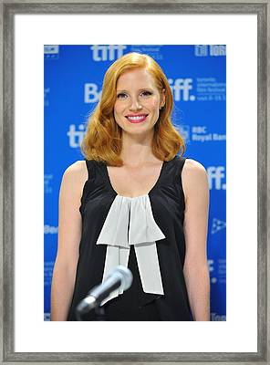 Jessica Chastain At The Press Framed Print