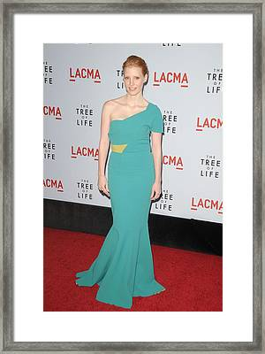 Jessica Chastain Wearing A Dress Framed Print by Everett
