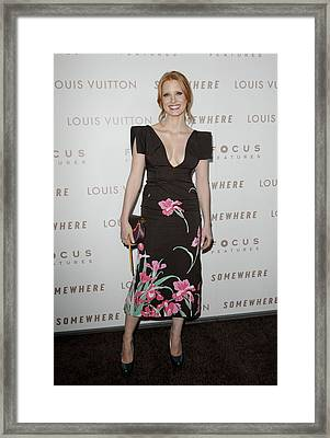 Jessica Chastain Wearing A Louis Framed Print by Everett