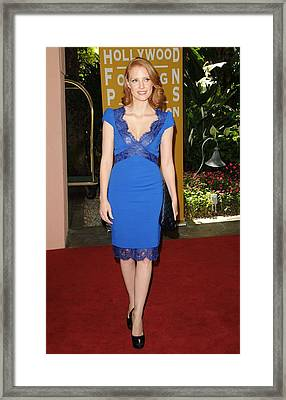 Jessica Chastain Wearing An Emilio Framed Print by Everett
