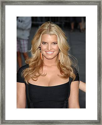Jessica Simpson At Talk Show Appearance Framed Print by Everett