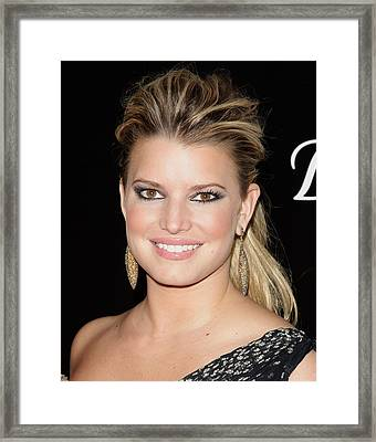 Jessica Simpson In Attendance Framed Print by Everett