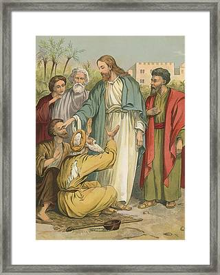 Jesus And The Blind Men Framed Print by English School