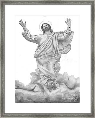 Jesus Approaches The Gates Of Heaven Framed Print by Calvert Koerber