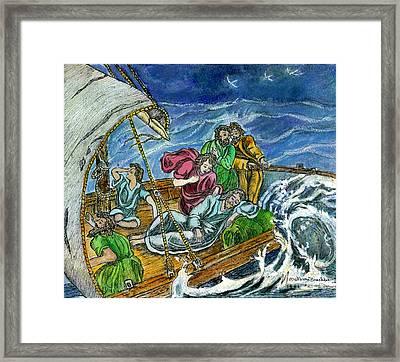 Jesus Asleep In The Storm Framed Print by Norma Boeckler