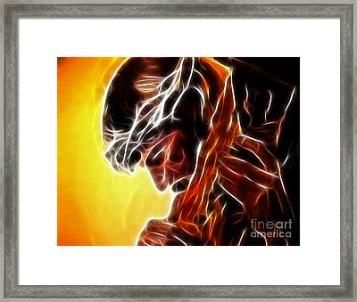 Jesus Carrying The Cross Framed Print by Pamela Johnson