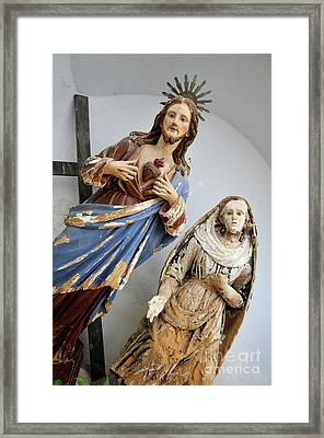 Jesus Christ And Saint Statues In Church Framed Print by Sami Sarkis