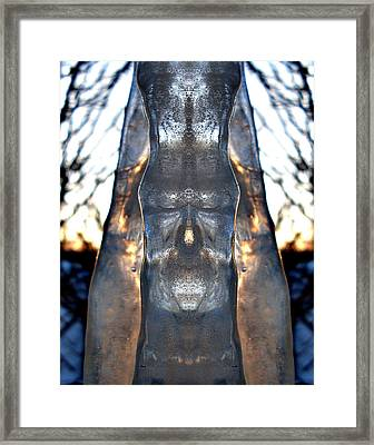 Jesus In An Icicle Framed Print by Wesley Hahn