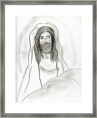 Jesus In Cave Framed Print by Sonya Chalmers