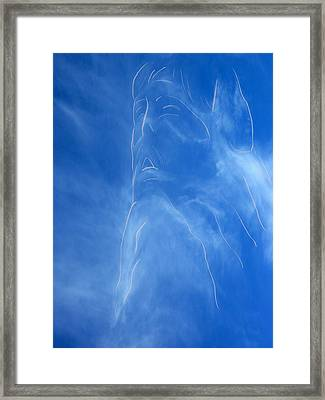 Jesus In The Clouds Framed Print by Cindy Wright
