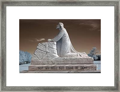 Jesus Kneeling Monument - Religious Christian Art - Jesus Praying Framed Print by Kathy Fornal