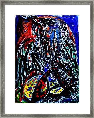 Framed Print featuring the painting Jesus Meets Mary On Calvary by Gloria Ssali