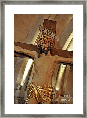 Jesus On Cross Framed Print by Sami Sarkis