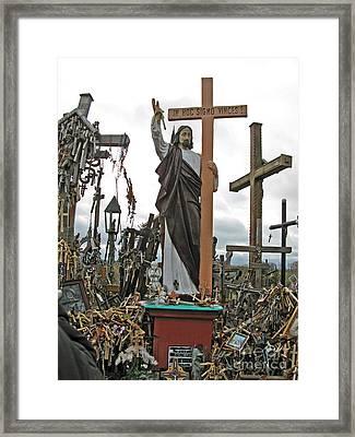 Jesus On The Hill Of Crosses. Lithuania Framed Print by Ausra Huntington nee Paulauskaite