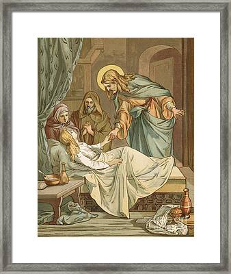 Jesus Raising Jairus's Daughter Framed Print by John Lawson