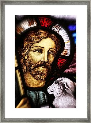 Framed Print featuring the photograph Jesus The Good Shepard by Verena Matthew