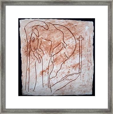 Jesus The Good Shepherd - Tile Framed Print by Gloria Ssali