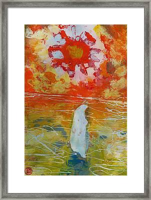 Jesus Walking On The Water Comtemplating Framed Print by Daniel Bonnell