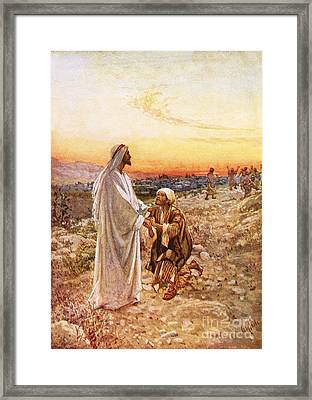 Jesus Withe The One Leper Who Returned To Give Thanks Framed Print by William Brassey Hole