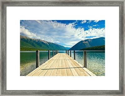 Jetty Of A Beautiful Lake  Framed Print