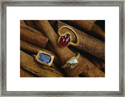 Jeweled Rings Are Found In The Wreckage Framed Print by Sisse Brimberg