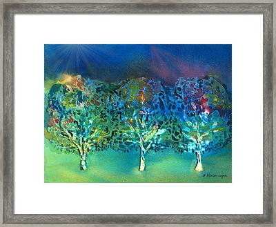 Framed Print featuring the mixed media Jeweled Trees by Arline Wagner