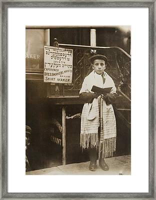 Jewish Boy Wearing A Prayer Shawl Framed Print by Everett