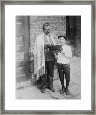 Jewish Man Wearing A Prayer Shawl Framed Print by Everett