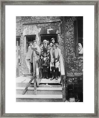 Jewish Men And Boys In Prayer Shawls Framed Print by Everett