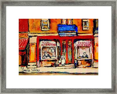 Jewish Montreal Vintage City Scenes De Bullion Street Cobbler Framed Print by Carole Spandau