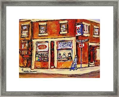 Jewish Montreal Vintage City Scenes Hutchison Street Butcher Shop  Framed Print by Carole Spandau