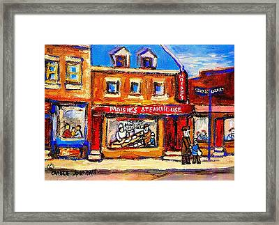 Jewish Montreal Vintage City Scenes Moishes St. Lawrence Street Framed Print by Carole Spandau