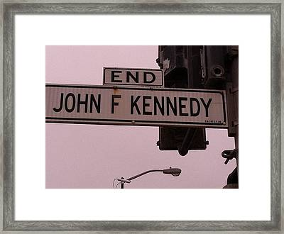 Framed Print featuring the photograph Jfk Street by Bill Owen