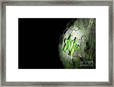 Jigsaw Globe With Grass Inside Framed Print