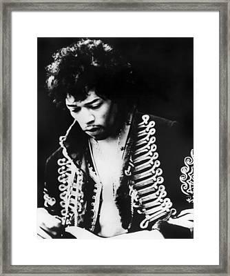 Jimi Hendrix At The Monterey Pop Framed Print