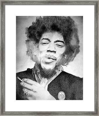 Jimi Hendrix - Small Framed Print by Robert Lance