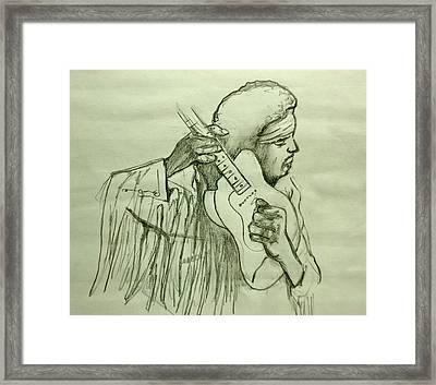 Jimi Sketch Framed Print by Pete Maier