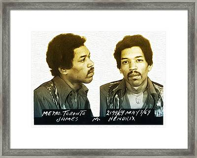 Jimmi Hendrix Mug Shot Framed Print by Bill Cannon