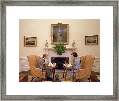 Jimmy Carter And Rosalynn Carter Having Framed Print by Everett